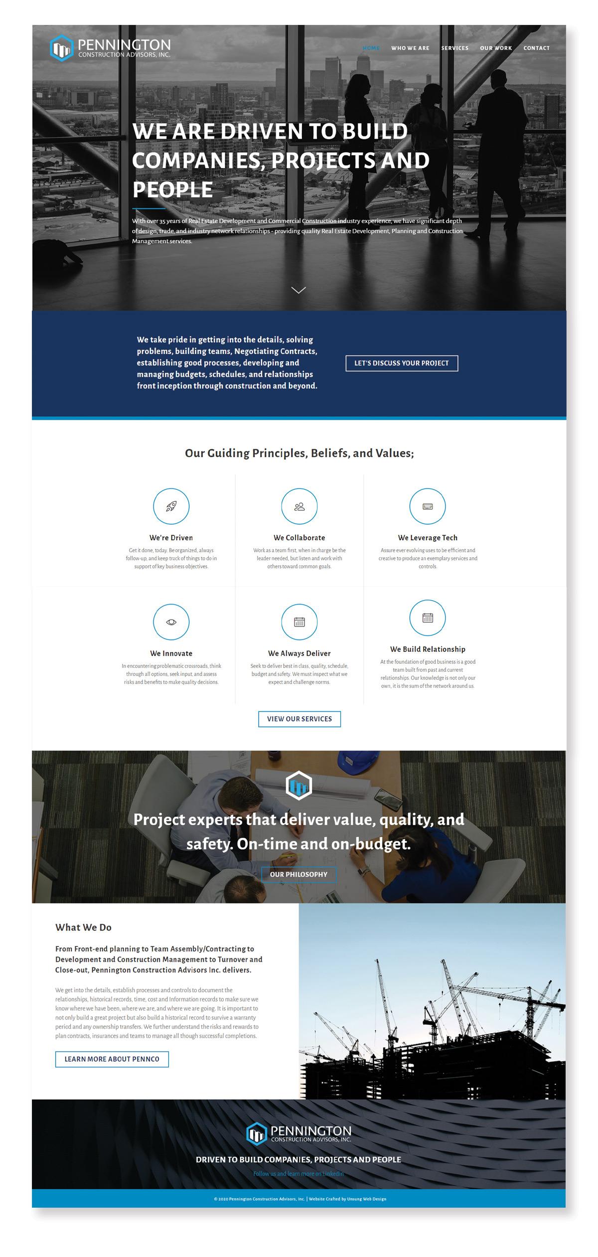 Pennco Inc Homepage Design